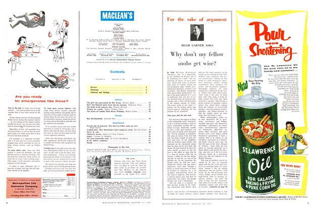 Article Preview: Why don't my fellow snobs get wise?, August 1957 | Maclean's