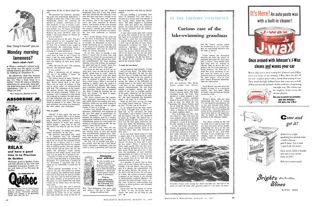 Article Preview: IN THE EDITORS' CONFIDENCE, August 1957 | Maclean's