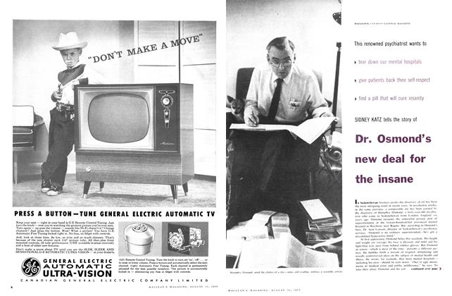 Article Preview: Dr. Osmond's new deal for the insane, August 1957 | Maclean's