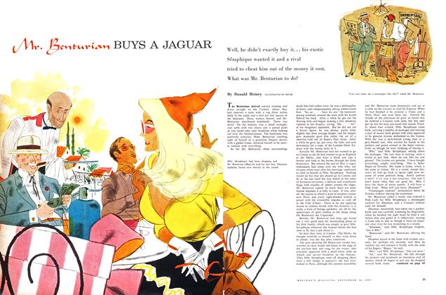 Article Preview: Mr. Benturian BUYS A JAGUAR, September 1957 | Maclean's