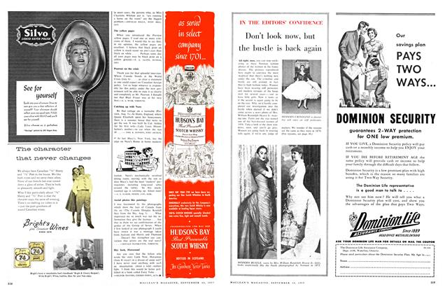 Article Preview: Don't look now, but the bustle is back again, September 1957 | Maclean's