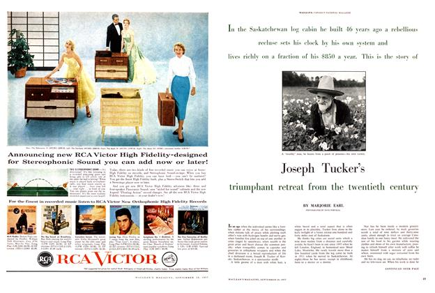 Article Preview: Joseph Tucker's triumphant retreat from the twentieth century, September 1957 | Maclean's