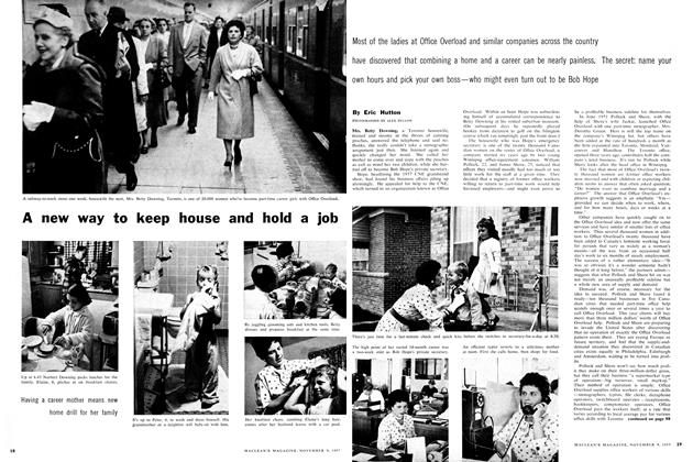 Article Preview: A new way to keep house and hold a job, November 1957 | Maclean's