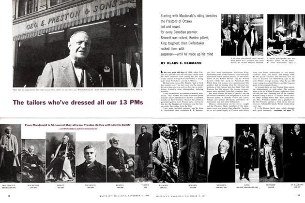 Article Preview: The tailors who've dressed all our 13 PMs, November 1957 | Maclean's