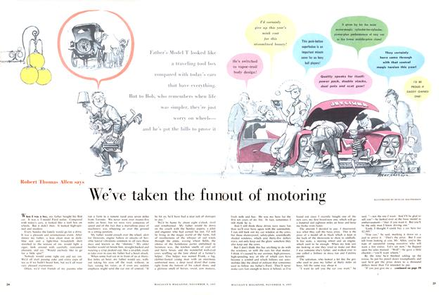 Article Preview: We've taken the fun out of motoring, November 1957 | Maclean's