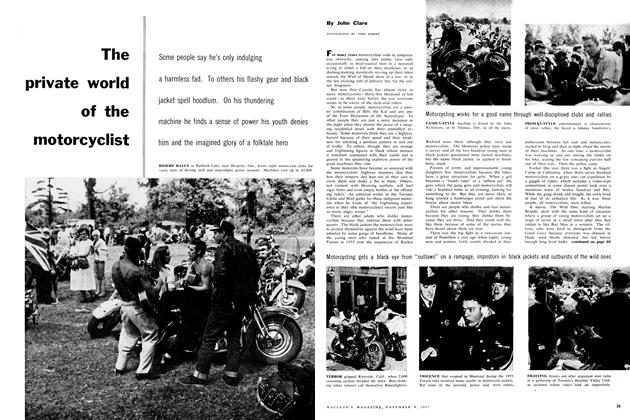 Article Preview: The private world of the motorcyclist, November 1957 | Maclean's