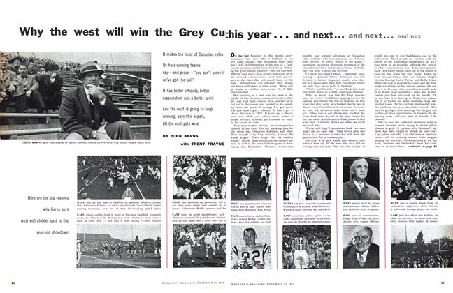 Article Preview: Why the west will win the Grey Cup this year... and next... and next... and next, November 1957 | Maclean's