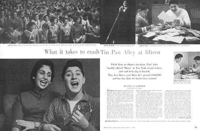 Article Preview: What it takes to crash Tin Pan Alley at fifteen, January 1958 | Maclean's