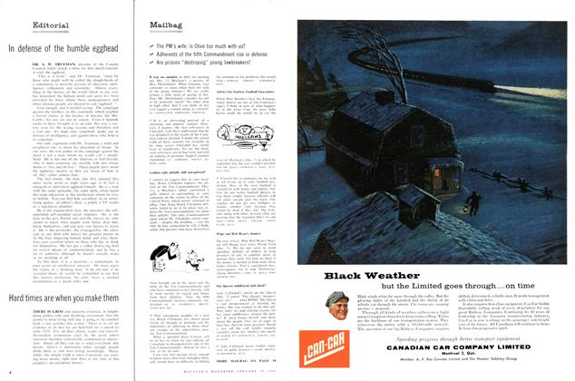Article Preview: Mailbag, January 1958 | Maclean's