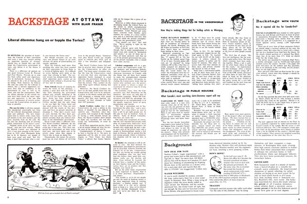 Article Preview: Liberal dilemma: hang on or topple the Tories?, February 1958 | Maclean's