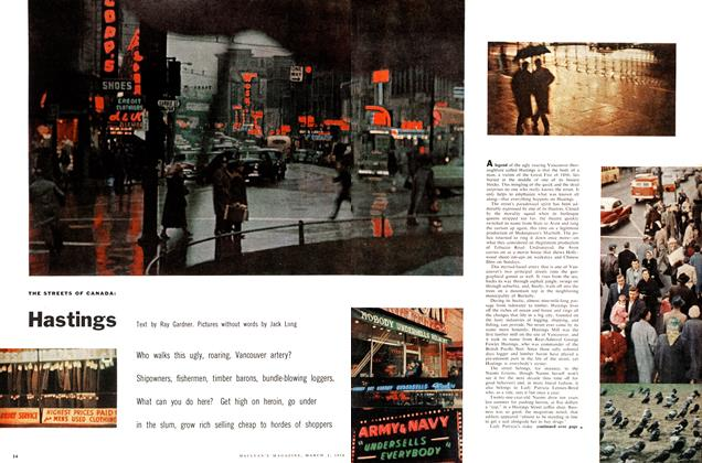 Article Preview: THE STREETS OF CANADA: Hastings, March 1958 | Maclean's