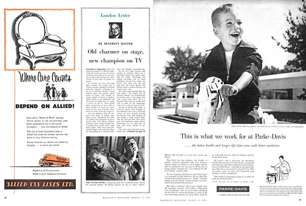 Article Preview: Old charmer on stage, new champion on TV, March 1958 | Maclean's