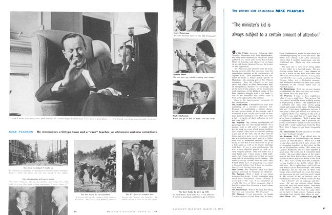"Article Preview: MIKE PEARSON He remembers a tintype town and a ""rare"" teacher, an old movie and new comedians, March 1958 