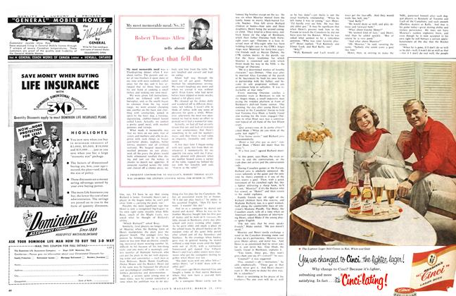 Article Preview: The feast that fell flat, March 1958 | Maclean's