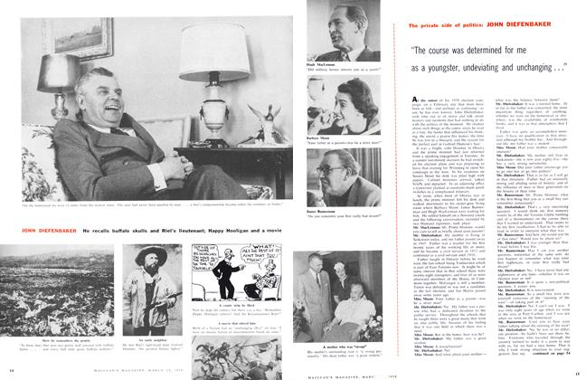 Article Preview: JOHN DIEFENBAKER He recalls buffalo skulls and Riel's lieutenant; Happy Hooligan and a movie, March 1958 | Maclean's