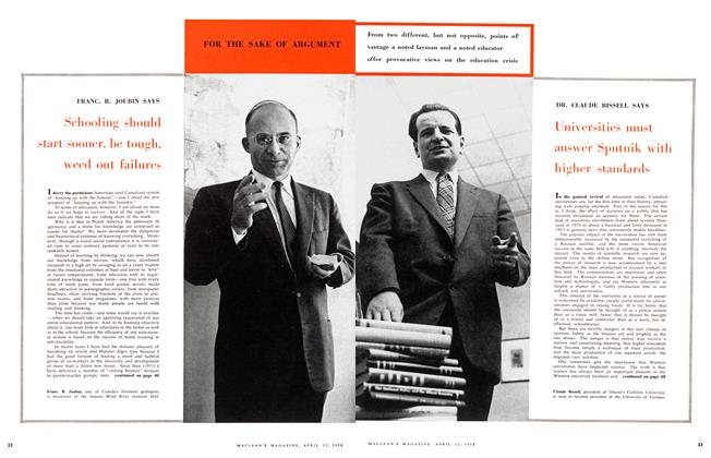 Article Preview: Schooling should start sooner, be tough, weed out failures, April 1958 | Maclean's