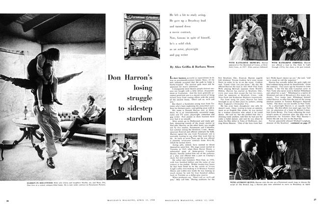 Article Preview: Don Harron's losing struggle to sidestep stardom, April 1958 | Maclean's