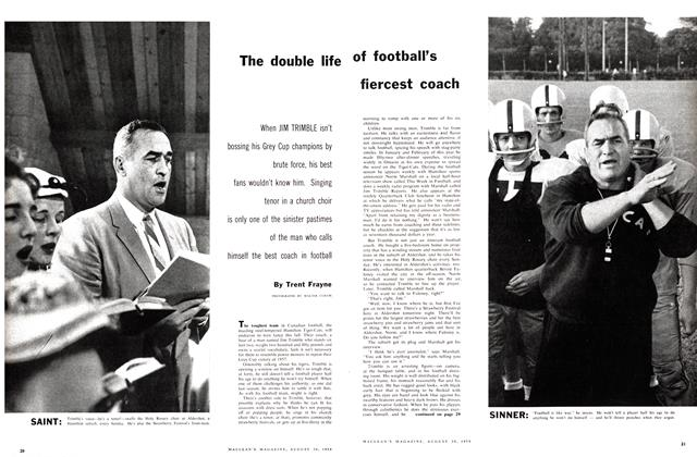 Article Preview: The double life of football's fiercest coach, August 1958 | Maclean's
