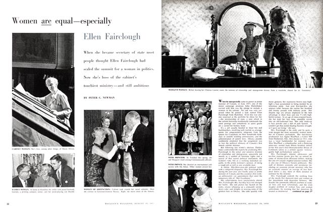 Article Preview: Women are equal—especially Ellen Fairclough, August 1958 | Maclean's