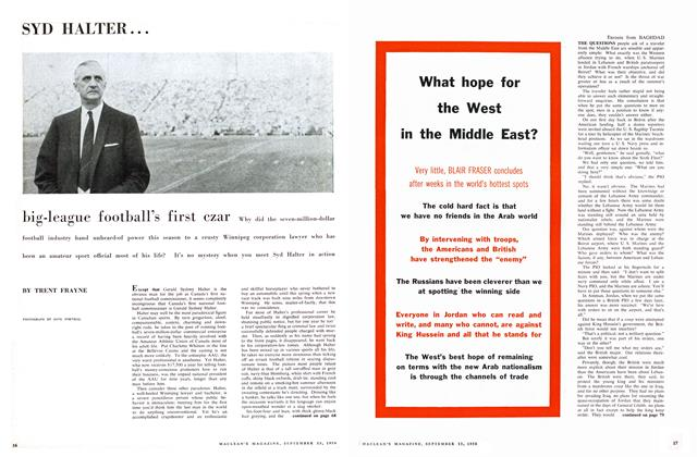 Article Preview: SYD HALTER big-league football's first czar Why, September 1958 | Maclean's