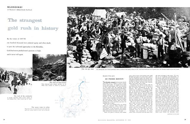 Article Preview: KLONDIKE! The strangest gold rush in history, September 1958 | Maclean's