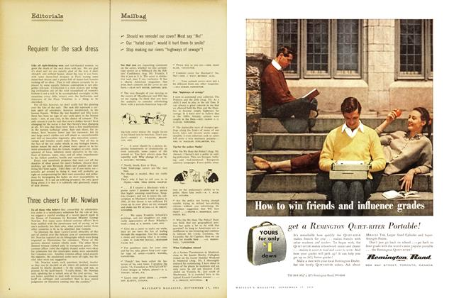 Article Preview: Requiem for the sack dress, September 1958 | Maclean's