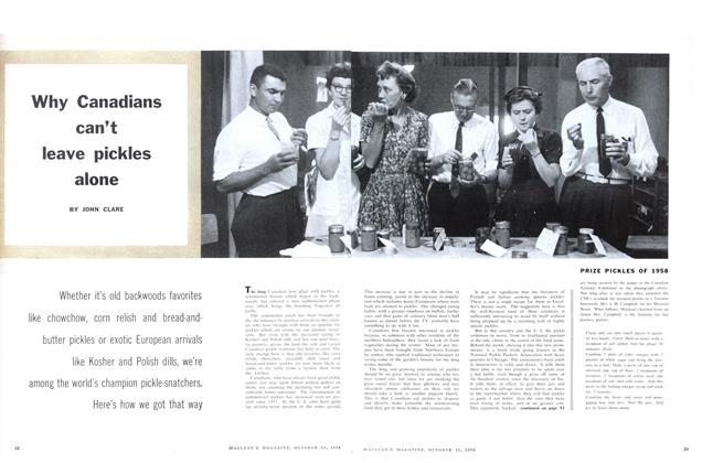 Article Preview: Why Canadians can't leave pickles alone, October 1958 | Maclean's
