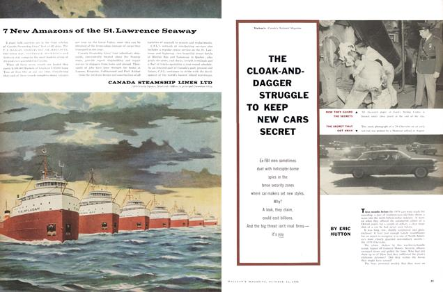 Article Preview: THE CLOAK-AND-DAGGER STRUGGLE TO KEEP NEW CARS SECRET, October 1958 | Maclean's