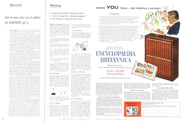 Article Preview: Mailbag, November 1958 | Maclean's