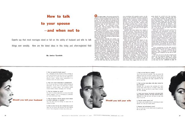 Article Preview: How to talk to your spouse -and when not to, January 1959 | Maclean's