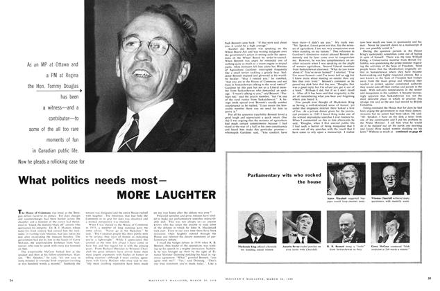 Article Preview: What politics needs most— MORE LAUGHTER, March 1959 | Maclean's