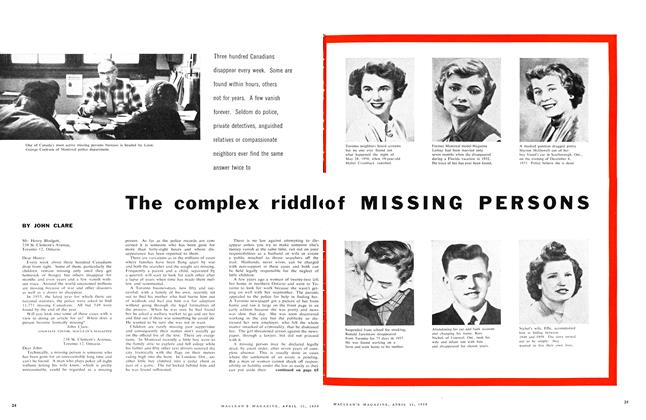 Article Preview: The complex riddle of MISSING PERSONS, April 1959 | Maclean's