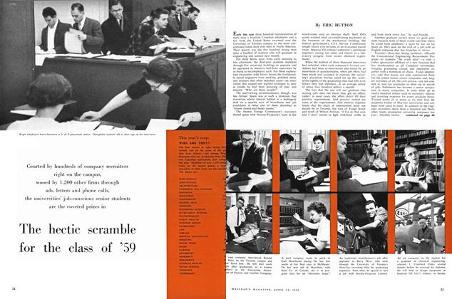 Article Preview: The hectic scramble for the class of '59, April 1959 | Maclean's
