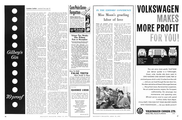 Article Preview: Miss Moon's grueling labor of love, April 1959 | Maclean's