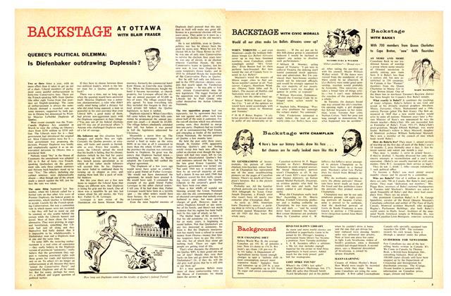 Article Preview: QUEBEC'S POLITICAL DILEMMA: Is Diefenbaker outdrawing Duplessis?, May 1959   Maclean's