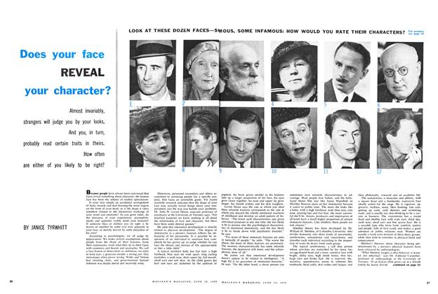Article Preview: Does your face REVEAL your character?, June 1959 | Maclean's