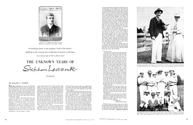 Article Preview: THE UNKNOWN YEARS OF Stephen Leacock Conclusion, July 1959 | Maclean's
