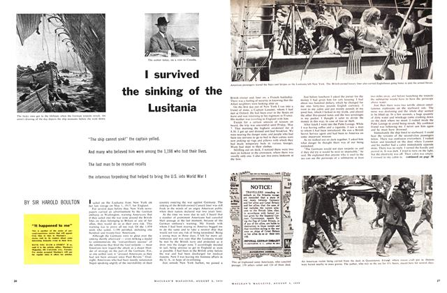 Article Preview: I survived the sinking of the Lusitania, August 1959 | Maclean's
