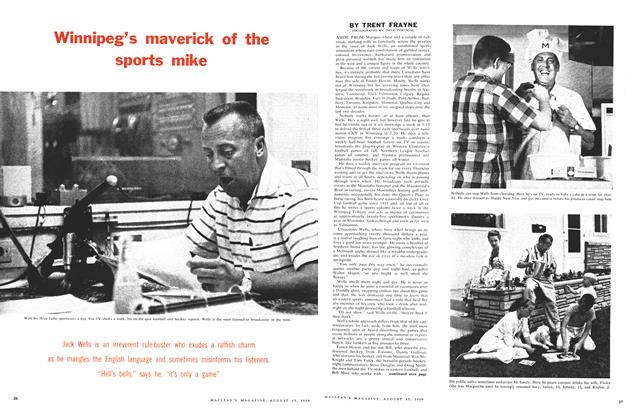 Article Preview: Winnipeg's maverick of the sports mike, August 1959 | Maclean's