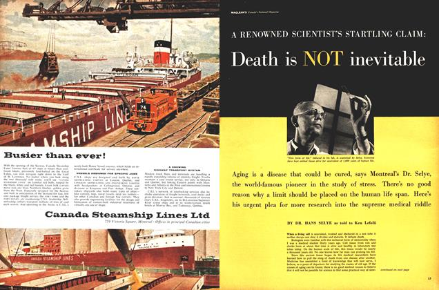 Article Preview: A RENOWNED SCIENTIST'S STARTLING CLAIM: Death is NOT inevitable, August 1959 | Maclean's