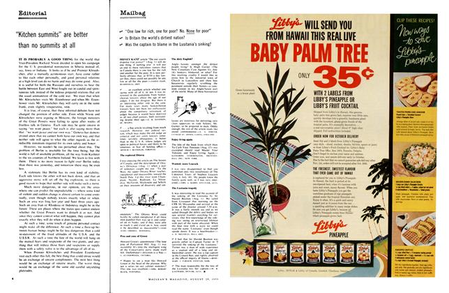 Article Preview: Mailbag, August 1959 | Maclean's