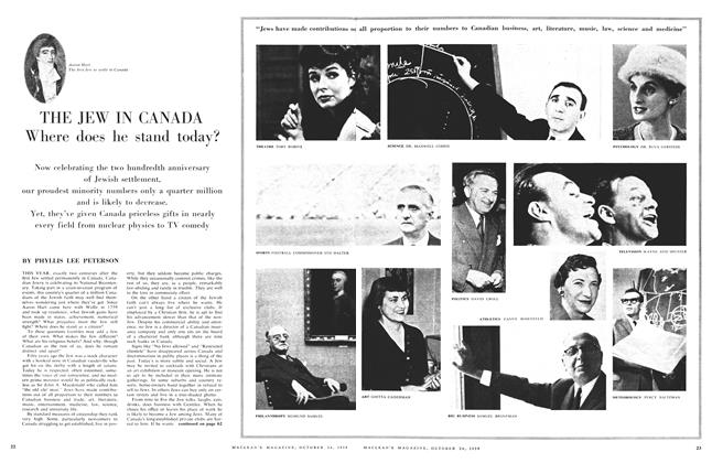Article Preview: THE JEW IN CANADA Where does he stand today?, October 24 1959 | Maclean's