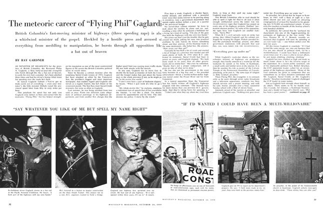"Article Preview: The meteoric career of ""Flying Phil"" Gaglardi, October 24 1959 