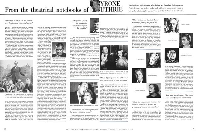 Article Preview: From the theatrical notebooks of YRONE UTHRIE, December 1959 | Maclean's