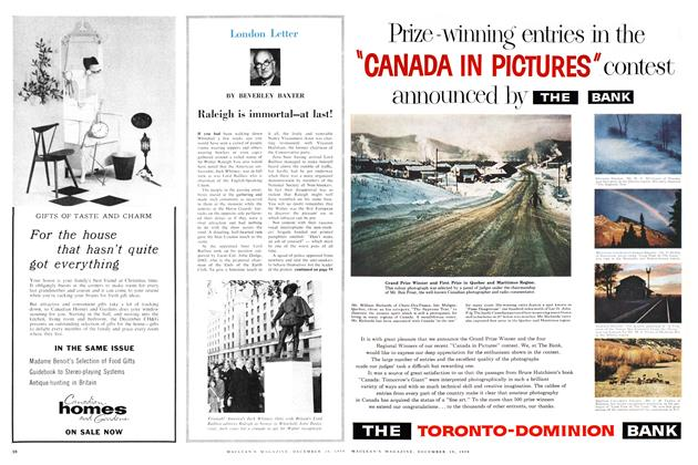 Article Preview: Raleigh is immortal—at last!, December 1959 | Maclean's