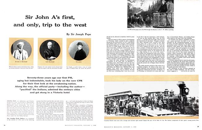 Article Preview: Sir John A's first, and only, trip to the west, January 1960 | Maclean's