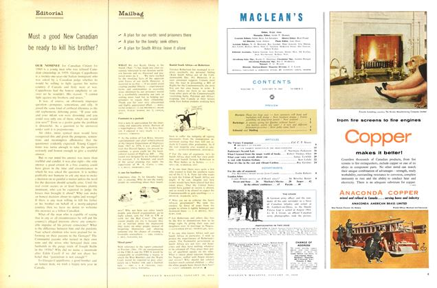 Article Preview: Mailbag, January 1960 | Maclean's