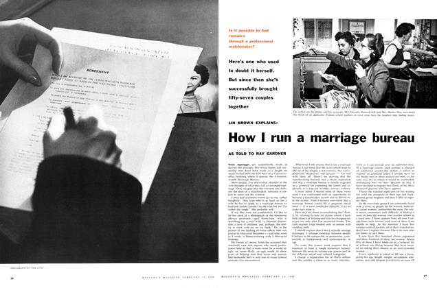 Article Preview: How I run a marriage bureau, February 1960 | Maclean's