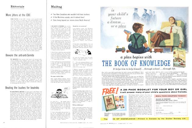 Article Preview: Mailbag, February 1960 | Maclean's