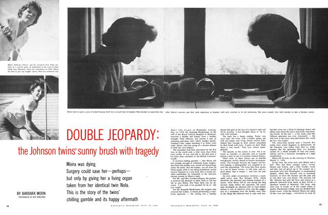 Article Preview: DOUBLE JEOPARDY: the Johnson twins' sunny brush with tragedy, July 1960 | Maclean's